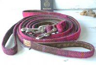 Cerise Harris Tweed Dog Leash